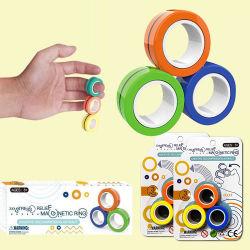 3 PCS磁気指リングの圧力救助のおもちゃ