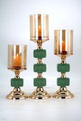 Heißer Verkaufs-einfacher Art-Grün-Jade-Metallkerze-Halter für Hauptdekor