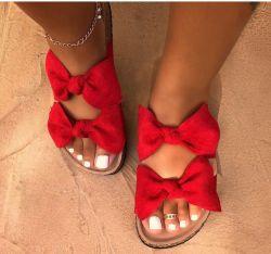 アマゾン願いのベストセラーの夏の女性の靴の方法セクシーな弓スリッパの女性かわいいヒョウの平らなサンダル