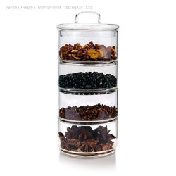 Canister Jeu de 5 bidons de cuisine en verre avec couvercle en verre de bambou stockage hermétique des bocaux pour la cuisine