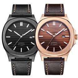 人のための機械贅沢な自動革は標準的な人の腕時計OEMを細くする
