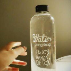 401ml-500ml en verre transparent de type rond bouteilles d'eau de boisson /Cartoon bouteille bouteille /Portable/haut bouteille en verre borosilicaté/ étudiant le verre Verre à eau