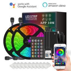 خدمة WiFi SMD 5050 بعلو 10 أمتار 15 م 20 م مقاومة للماء بالجملة مصابيح عمل مرنة LED من RGB مع Alexa Google لـ حفلة زفاف على الكريسماس