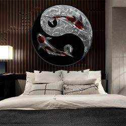 Yinyang Tai Chi Círculo Koi Pintura al Óleo de metal 3d para el interior una decoración moderna de la pared de artesanía artes