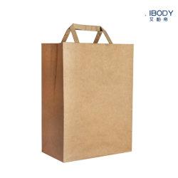 Atacado durável aceitar logo Personalizado impresso marrom Kraft sacos de papel Com saco de compras com pegas planas