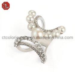 Modeschmuck 925 Sterling Silber Kreatives Design Ring mit CZ Und Perlmode Customized Schmuck