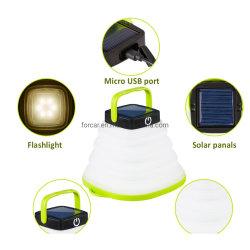 Solar portátil Lámpara recargable Foldingtent USB lámpara colgante Lámpara de exterior resistente al agua Solar Linterna de camping