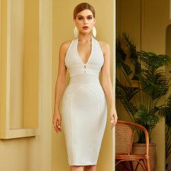 De witte Halter Backless Ball Gowns Evening Dress Business Wear for Vrouwen