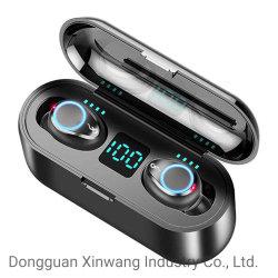 F9 고속 페어링 TWS 5.0 True Wireless 이어버드 Bluetooths Digital Power Bank가 있는 Power Display 이어폰 및 헤드폰