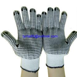 Gants tricot de coton en pointillés en PVC Gants de travail des gants de coton pigmentées Ce
