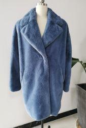 Moda feminina V-Pescoço casaco de peles falsas casaco de Inverno
