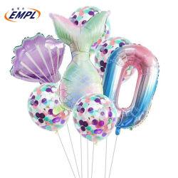 新しい様式の人魚誕生会のフォイル膨張可能な気球の数字の気球