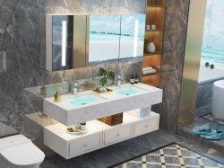 ホテルマーブルベイスンシンクダブルシンクバスルーム家具バスルームバニティー、 LED ミラー、ミラーキャビネット