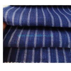 مصنع سعر عريضة شريطية قمصان غير رسمية قماش 100 ٪ شريط من الكتان النقي