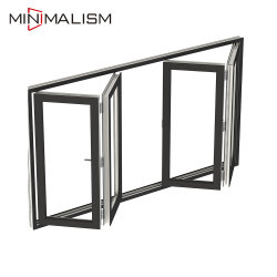 Los materiales de construcción metálica plegable de aluminio de ahorro de espacio de la ventana con vidrio laminado/Díptico de patio/Horizontal/Windows/Perfil de aluminio doble acristalamiento