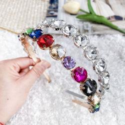 Moda grossista jóias Rhinestone Pedra de vidro metal jóias de cabelo ajustável para as meninas 2020
