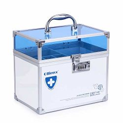 El hogar Kit de primeros auxilios medicina de emergencia de carcasa de aluminio Caja de almacenamiento de acrílico de aluminio