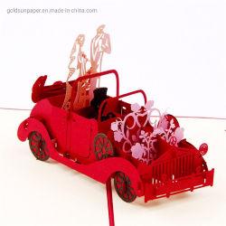 Venda por grosso 3D aparecer Cards Carro de Casamento Noivos Casamento Cartões convites para o Dia dos Namorados Aniversário dons de saudação cartão postal de cartão