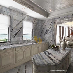Polis Danube bleu carrelage de sol en marbre/Cuisine/Salle de bains revêtement mural/de comptoir