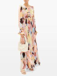 새로운 Fashion Geo Pleated Print Pliss 디자인 숙녀 당 여자에 의하여 물결이 일게한 목 및 귀여운 조젯은 긴 소매 맥시 복장을 인쇄한다
