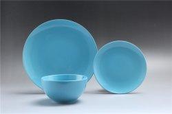 Großhandel Haushaltswaren Set EU Style Farbe Glaze Keramik Dinner-Set Mit Customized Decal 12pcs Blue Steinzeug Dinner Set