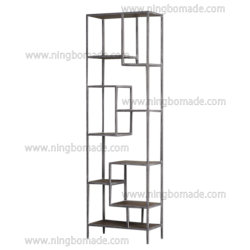 Muebles de estilo nórdico antiguo país recuperó el natural de madera de abeto con metal de hierro gris de estante de la pantalla de alta