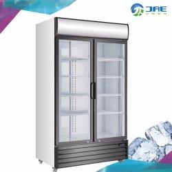 Bebida de refrigeración de la puerta de vidrio vitrina