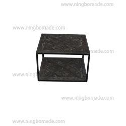 現代北欧の贅沢な家具のカシの天候の暗い灰色の白および黒の鉄の十字のパネルの小さい茶表