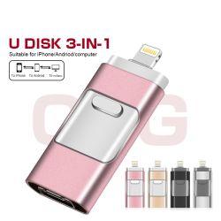 iPhone/iPad/iPod/Ios/Androidの電話のための金属USBのペン駆動機構16GB/32GB/64GB/128GB OTGのフラッシュ駆動機構のアダプター