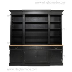 Страны Северной Европы антиквариата классической мебелью природных и черного дерева четыре двери четырех выдвижных ящиков верхний и нижний книжном шкафу