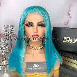 Custom Virgin Blue волос Омбре цветные Боб кружева передней парики прозрачного кружева с частным наклейки