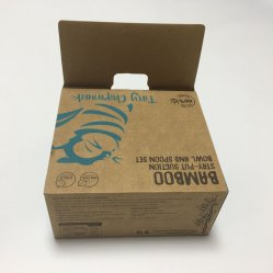 Contenitore impaccante stampato marchio su ordinazione di scatola del prodotto della carta kraft Del cucchiaio della ciotola dell'imballaggio di bambù del piatto con l'agganciamento