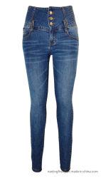 方法伸張のデニムのジーンズの女性の高いウエストのズボン(F110)