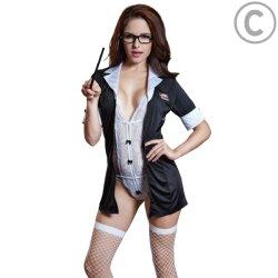 Divertido juego de rol de maestro sexy de encaje vestido de uniforme profesional Traje dos piezas Cosplay