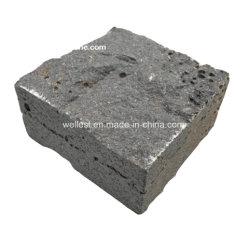 أسود طبيعي منقسم أسود بحجر البازلت الأسود الحصى الحصى الحصى مع الثقوب