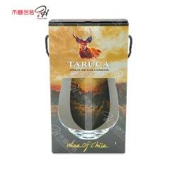 カスタムポータブル2のびんのワインのガラス穴デザインの包装のギフトの紙箱