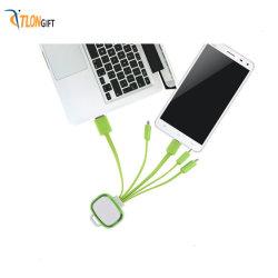 4 em 1 cores USB telemóveis multifuncionais de macarrão luminosa Keychains cabo de dados de carga