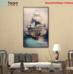 H1610mm*910mm abstrakte gravierte Segelboot-Kunst-Wand-Foto-Glasfarbanstriche (MR-YB17-828)