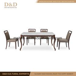 Hogar muebles de sala de mármol de juego de mesa de comedor con madera de haya de la pierna