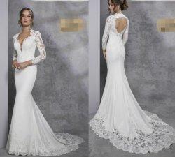Manches longues de la dentelle robe de mariée robe de mariée Backless Beach Jersey H14617