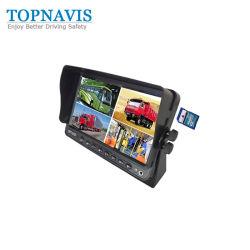 7 pulgadas LCD en color de coche Vista trasera del Monitor de seguridad Bakcup Quad con DVR integrado Chip Hisilicon 12-24V