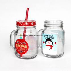 500ml 16oz boisson glacée Jar avec poignée et couvercle verre vide Mason Jar pour jus Boissons