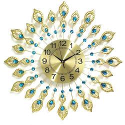 Decoração Diamond Cristal Design metálico Peacock luxuoso relógio de parede