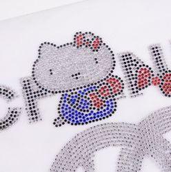 こんにちはキティの衣類袋のための熱い苦境Rhinestone/3Dの水晶ラインストーンのモチーフ
