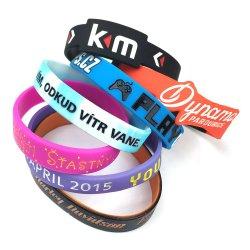Logo personalizados pulsera de silicona para regalo de promoción de goma