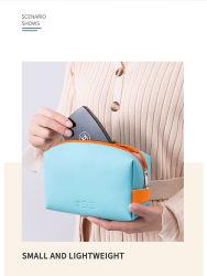 Lage MOQ handvat Eco-vriendelijk Blauw Maatwerk Makeup Box Large Capaciteit Vrouwen PU Cosmetische zakken