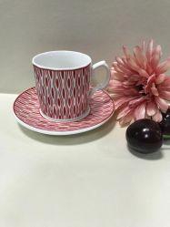 Directamente da fábrica 90cc Nice chá árabe de porcelana com bambu Pires de xícara de café