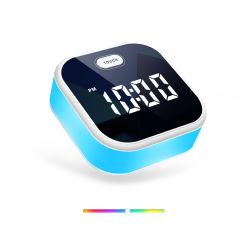 メモリ機能の小型旅行夜ライトデジタルLEDミラーの目覚し時計