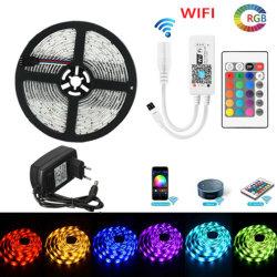 5050 TIRA DE LEDS RGB WiFi 5m 10m de TIRA DE LEDS Flexible con WiFi y fuente de alimentación Mando a distancia