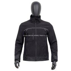 Schwarz Wasserdicht Reflektierende Tape Stand Collar Herren Softshell Jacke mit Reißverschlusstaschen und Langarm